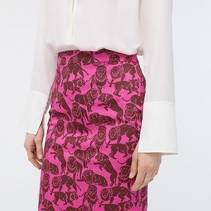 J.Crew Pink Pencil Skirt No. 2  Sleepy Lions Print